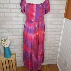 Entro Pink and Purple Tie Dye Dress